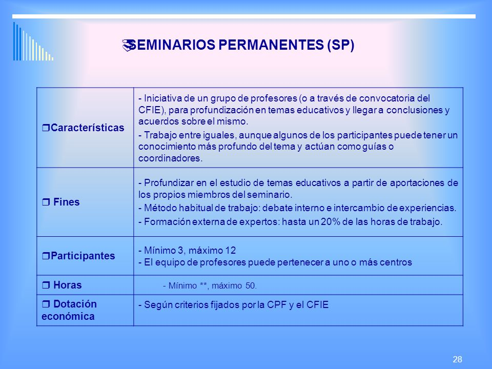 SEMINARIOS PERMANENTES (SP)