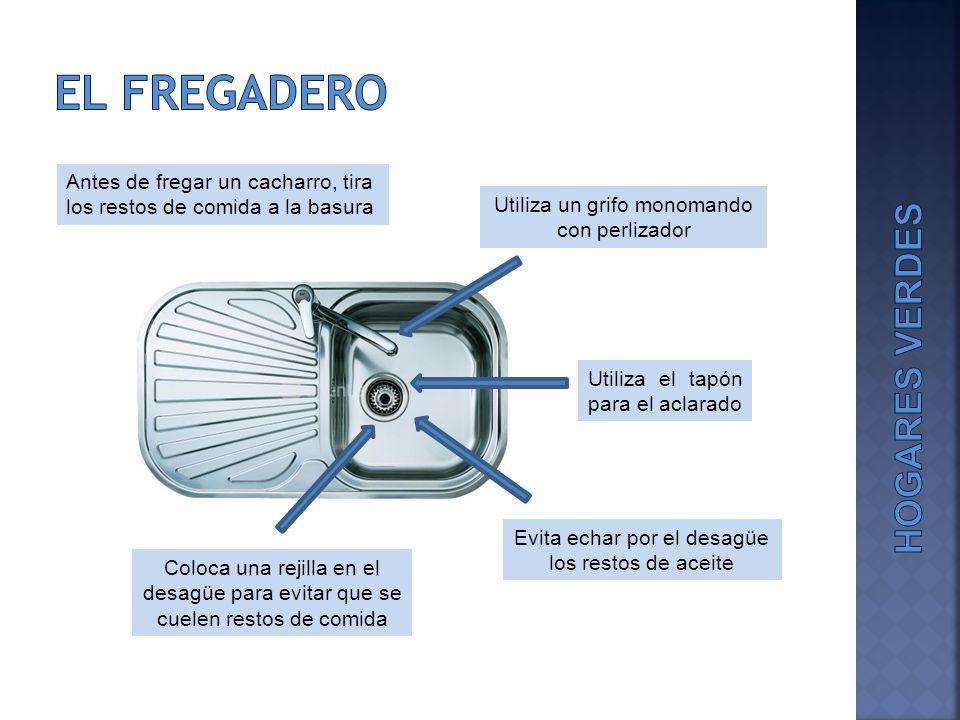 El fregadero Antes de fregar un cacharro, tira los restos de comida a la basura. Utiliza un grifo monomando con perlizador.