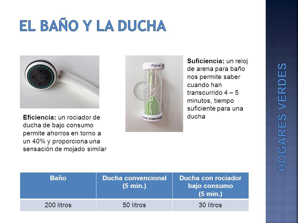 Ducha convencional (5 min.) Ducha con rociador bajo consumo (5 min.)