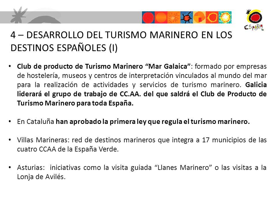 4 – DESARROLLO DEL TURISMO MARINERO EN LOS DESTINOS ESPAÑOLES (I)