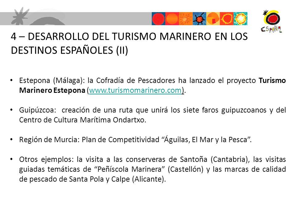 4 – DESARROLLO DEL TURISMO MARINERO EN LOS DESTINOS ESPAÑOLES (II)