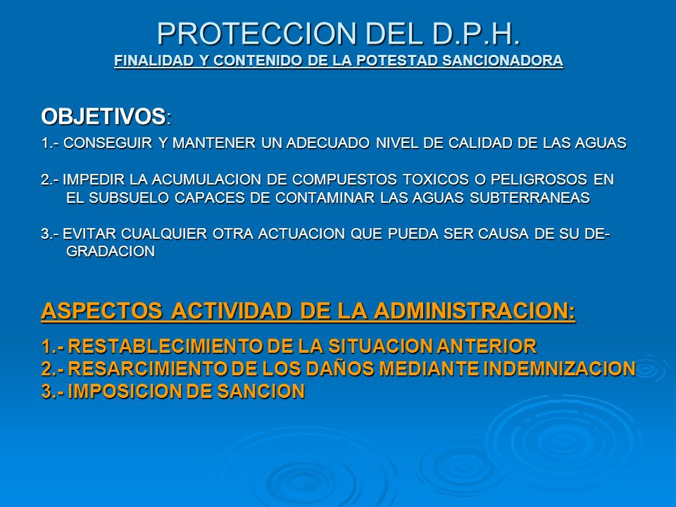 PROTECCION DEL D.P.H. FINALIDAD Y CONTENIDO DE LA POTESTAD SANCIONADORA
