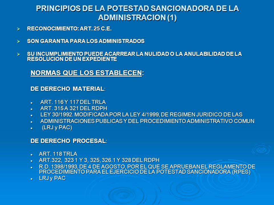 PRINCIPIOS DE LA POTESTAD SANCIONADORA DE LA ADMINISTRACION (1)