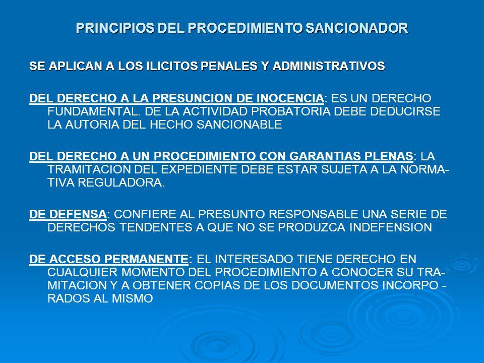PRINCIPIOS DEL PROCEDIMIENTO SANCIONADOR