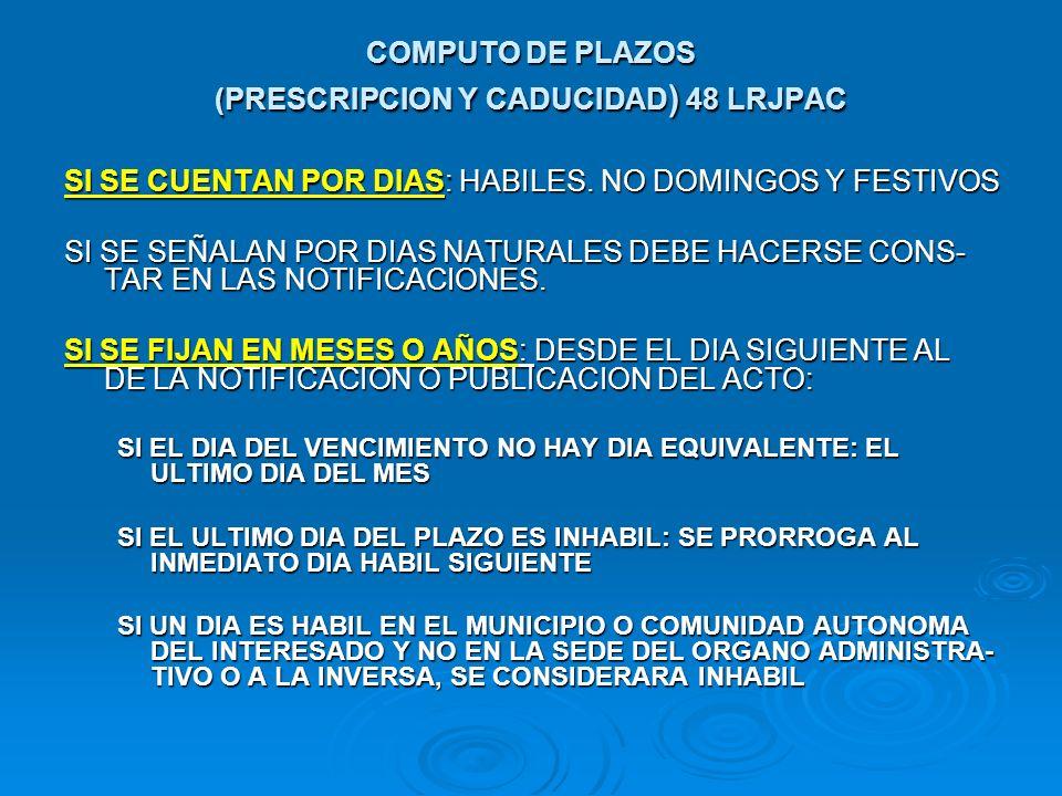 COMPUTO DE PLAZOS (PRESCRIPCION Y CADUCIDAD) 48 LRJPAC