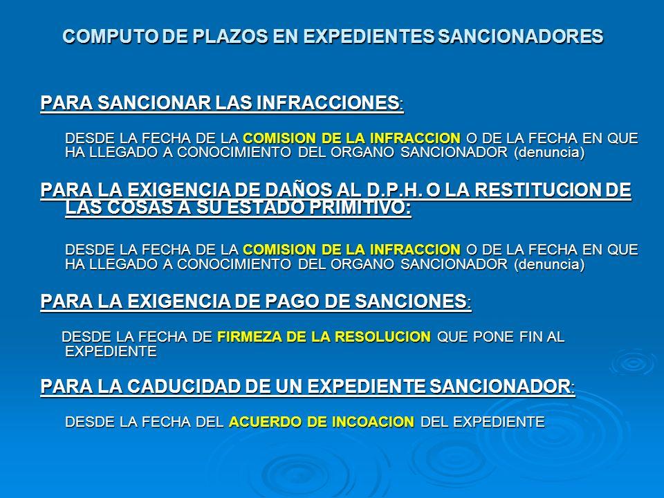 COMPUTO DE PLAZOS EN EXPEDIENTES SANCIONADORES