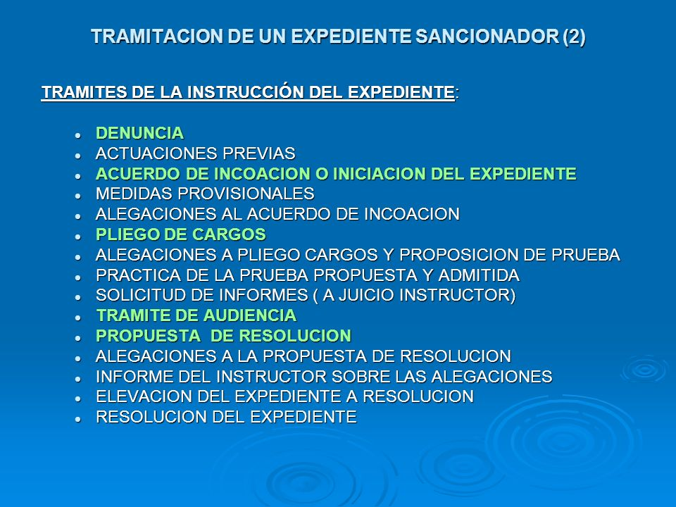 TRAMITACION DE UN EXPEDIENTE SANCIONADOR (2)