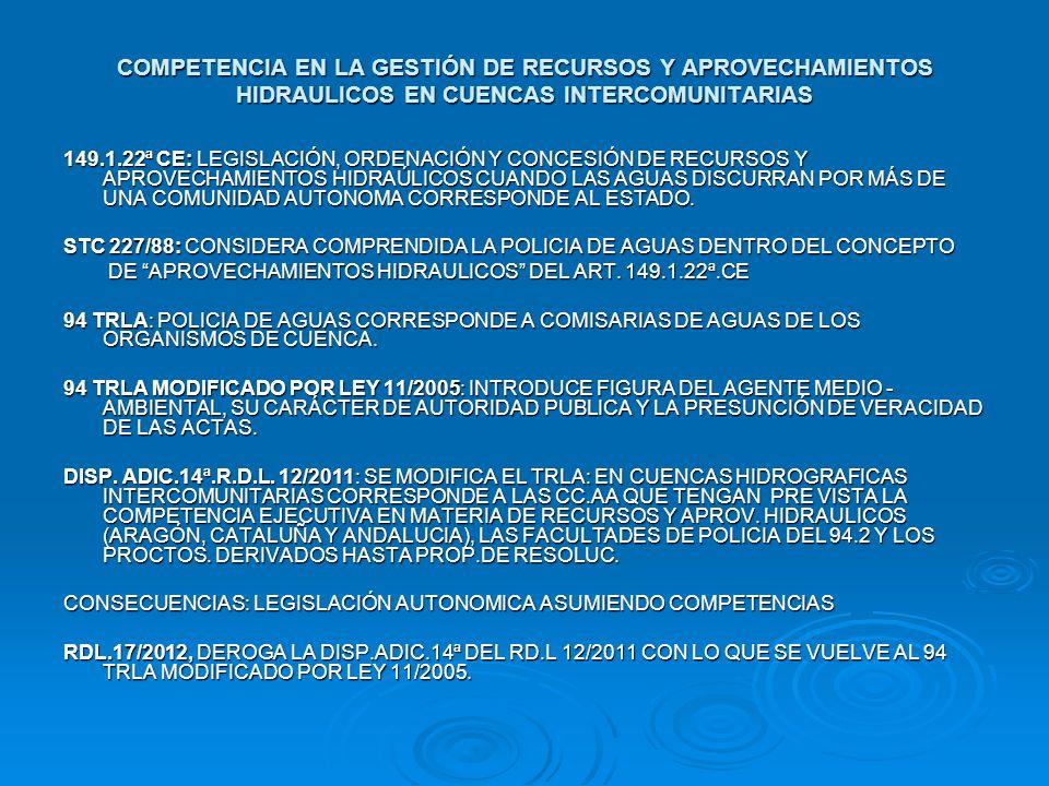 COMPETENCIA EN LA GESTIÓN DE RECURSOS Y APROVECHAMIENTOS HIDRAULICOS EN CUENCAS INTERCOMUNITARIAS