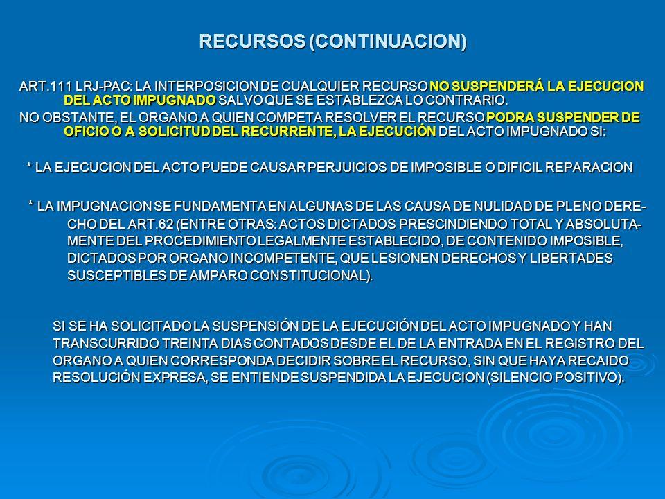 RECURSOS (CONTINUACION)