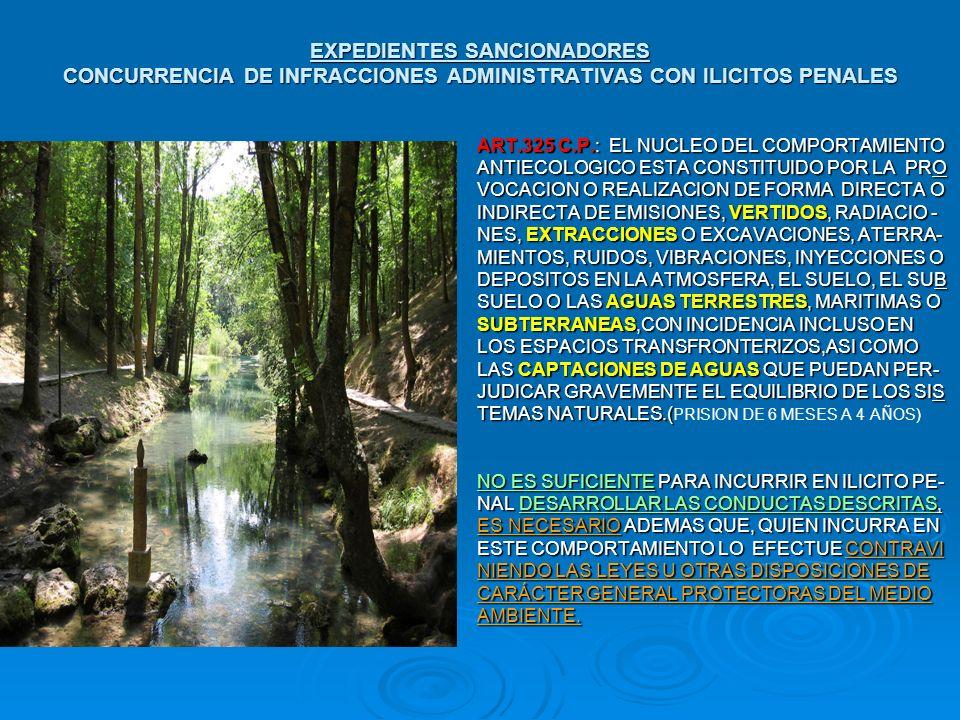 EXPEDIENTES SANCIONADORES CONCURRENCIA DE INFRACCIONES ADMINISTRATIVAS CON ILICITOS PENALES