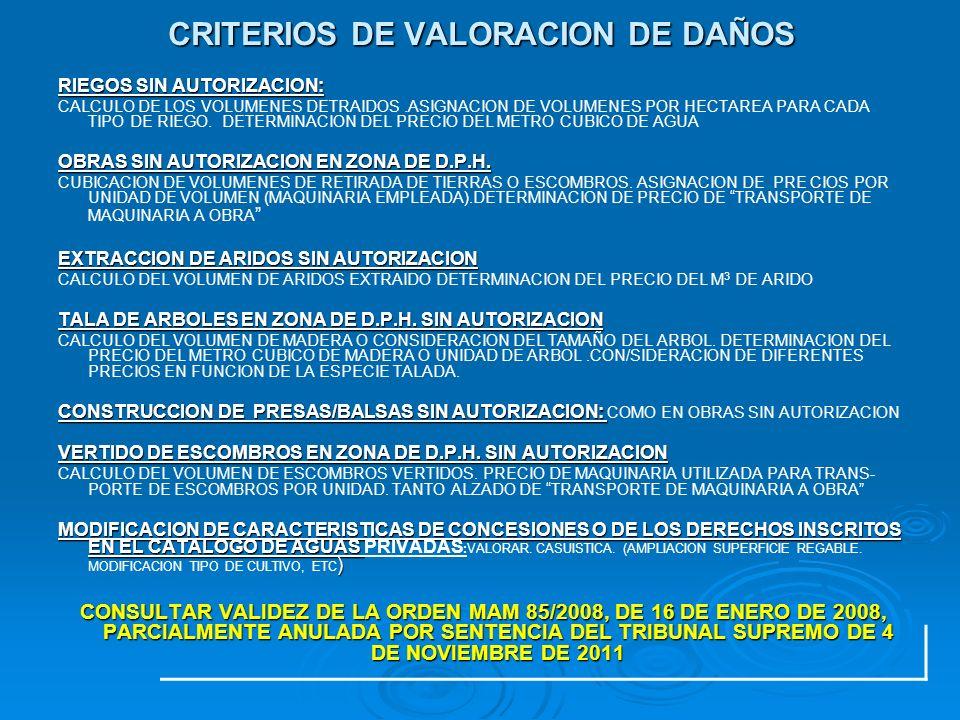 CRITERIOS DE VALORACION DE DAÑOS