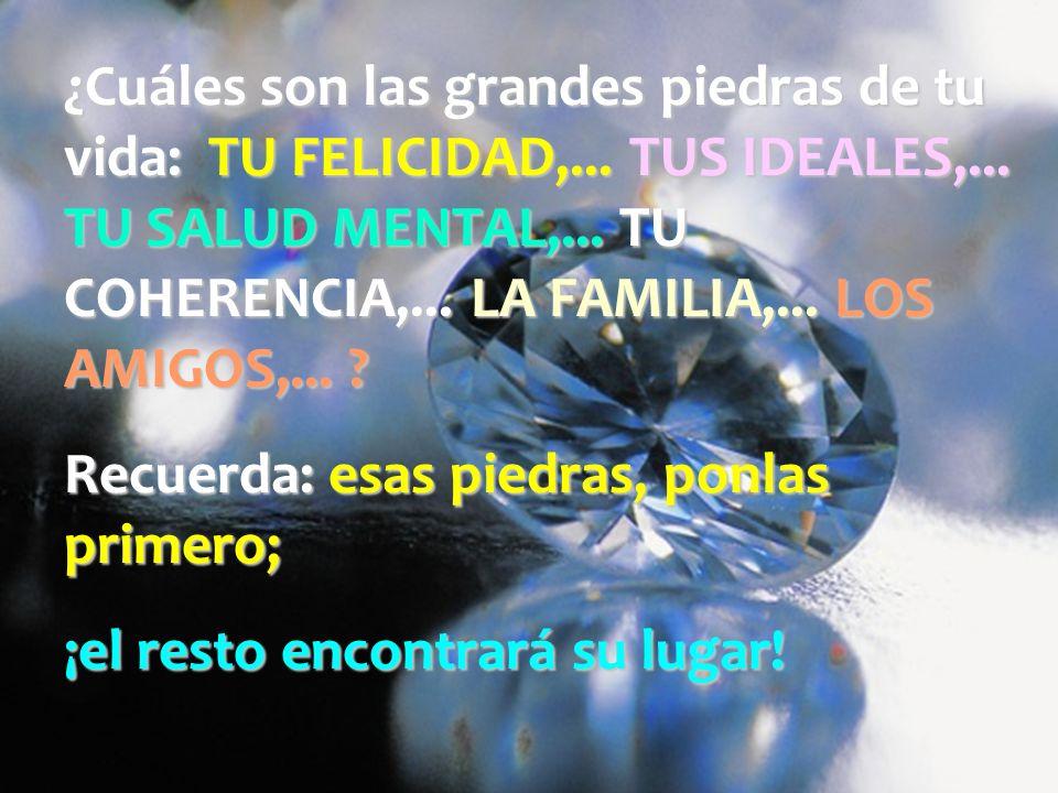 ¿Cuáles son las grandes piedras de tu vida: TU FELICIDAD,... TUS IDEALES,... TU SALUD MENTAL,... TU COHERENCIA,... LA FAMILIA,... LOS AMIGOS,...