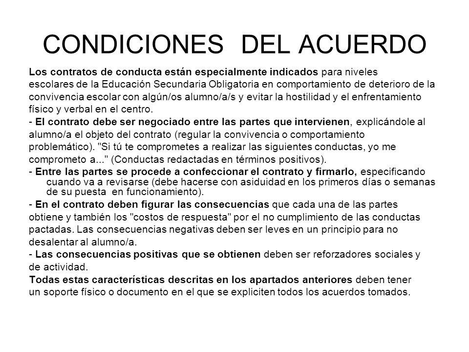 CONDICIONES DEL ACUERDO