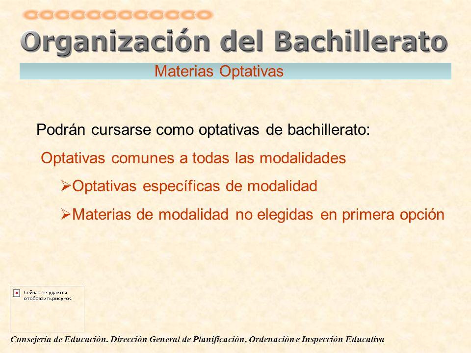 Materias Optativas Podrán cursarse como optativas de bachillerato: Optativas comunes a todas las modalidades.