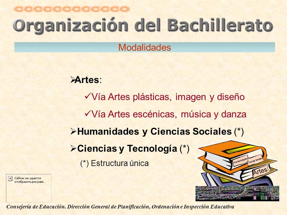 Modalidades Artes: Vía Artes plásticas, imagen y diseño. Vía Artes escénicas, música y danza. Humanidades y Ciencias Sociales (*)