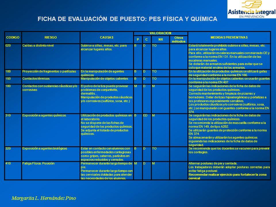 FICHA DE EVALUACIÓN DE PUESTO: PES FÍSICA Y QUÍMICA