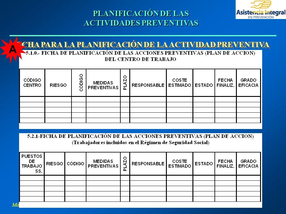 PLANIFICACIÓN DE LAS ACTIVIDADES PREVENTIVAS