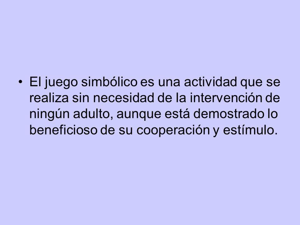 El juego simbólico es una actividad que se realiza sin necesidad de la intervención de ningún adulto, aunque está demostrado lo beneficioso de su cooperación y estímulo.