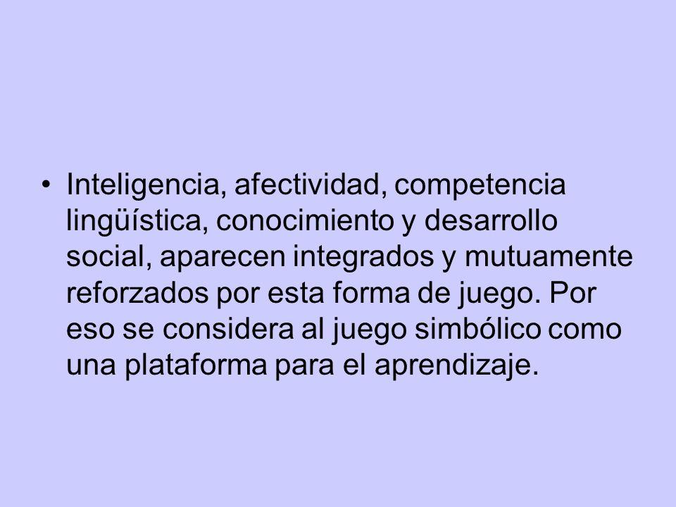 Inteligencia, afectividad, competencia lingüística, conocimiento y desarrollo social, aparecen integrados y mutuamente reforzados por esta forma de juego.