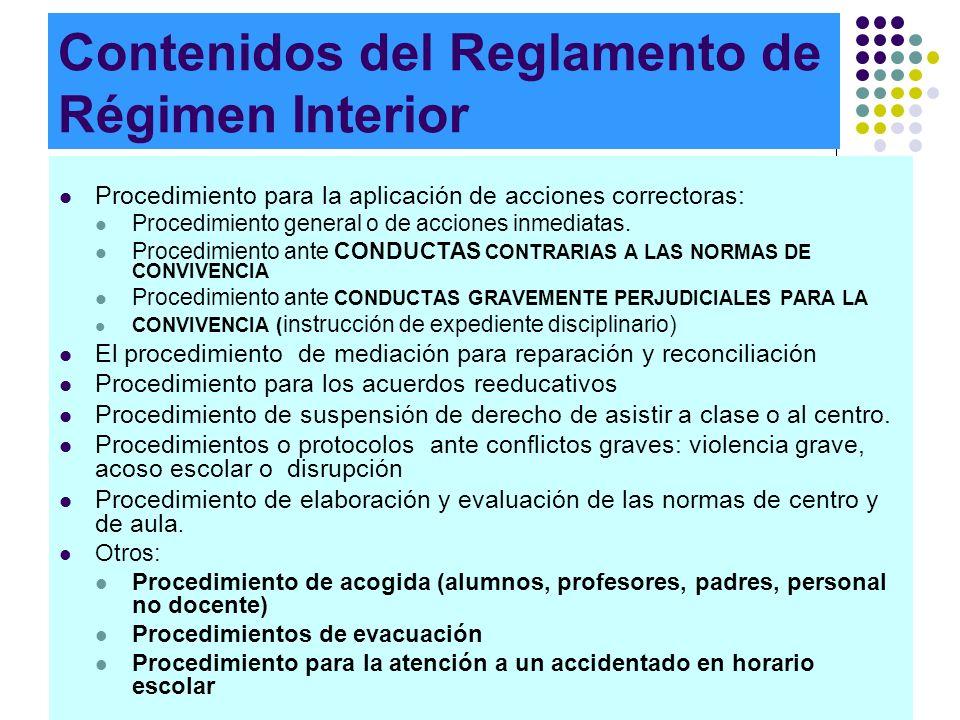Contenidos del Reglamento de Régimen Interior