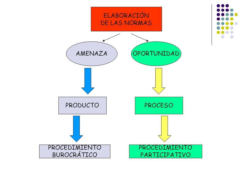 ELABORACIÓN DE LAS NORMAS. AMENAZA. OPORTUNIDAD. PRODUCTO. PROCESO. PROCEDIMIENTO. BUROCRÁTICO.