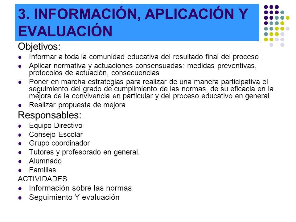 3. INFORMACIÓN, APLICACIÓN Y EVALUACIÓN