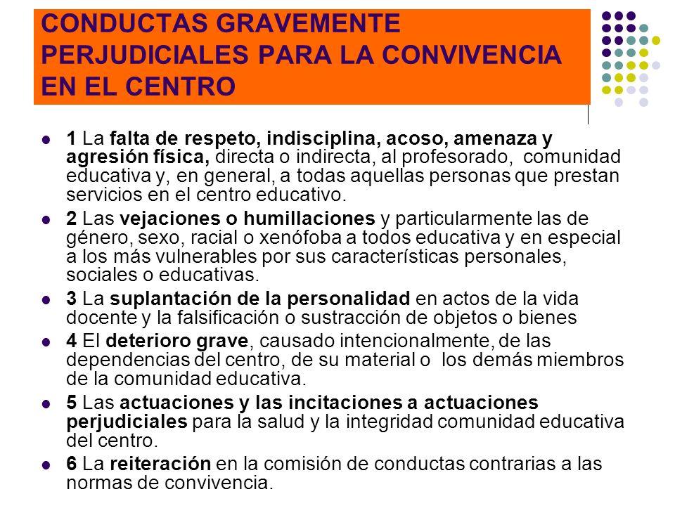 CONDUCTAS GRAVEMENTE PERJUDICIALES PARA LA CONVIVENCIA EN EL CENTRO