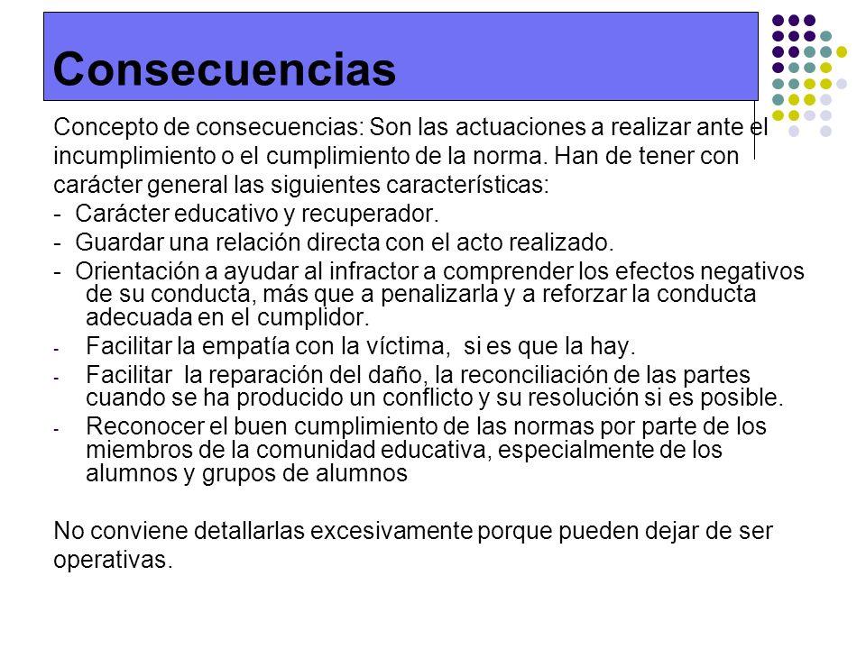 Consecuencias Concepto de consecuencias: Son las actuaciones a realizar ante el. incumplimiento o el cumplimiento de la norma. Han de tener con.