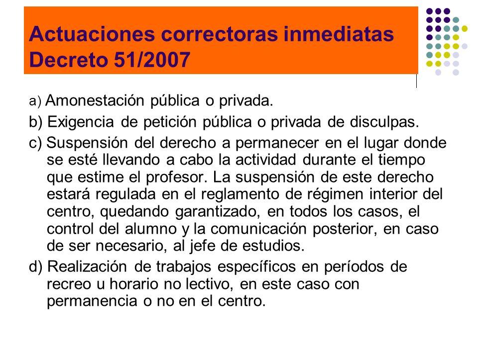 Actuaciones correctoras inmediatas Decreto 51/2007