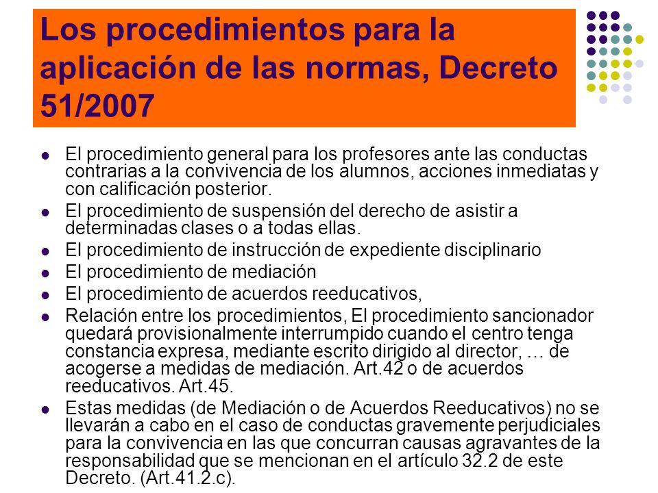 Los procedimientos para la aplicación de las normas, Decreto 51/2007