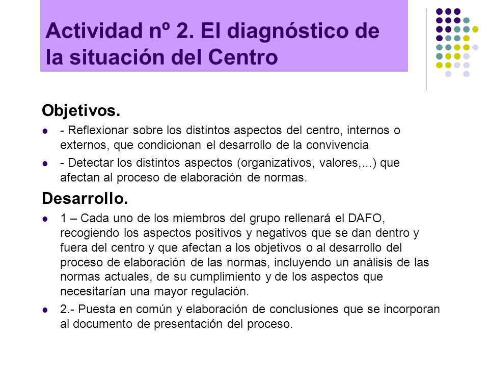 Actividad nº 2. El diagnóstico de la situación del Centro