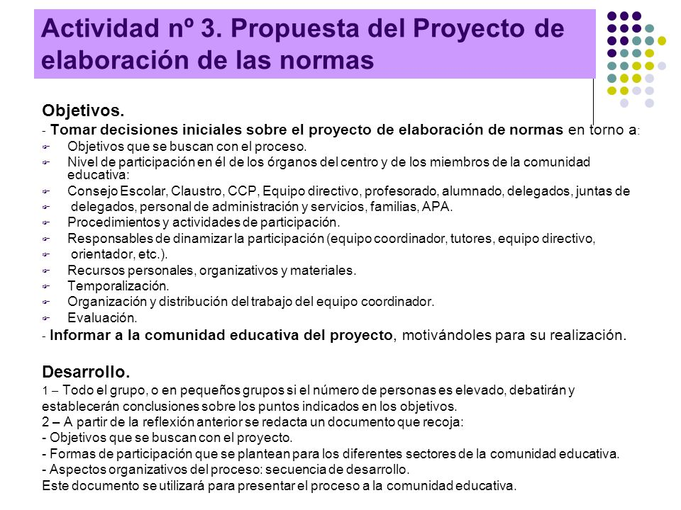 Actividad nº 3. Propuesta del Proyecto de elaboración de las normas