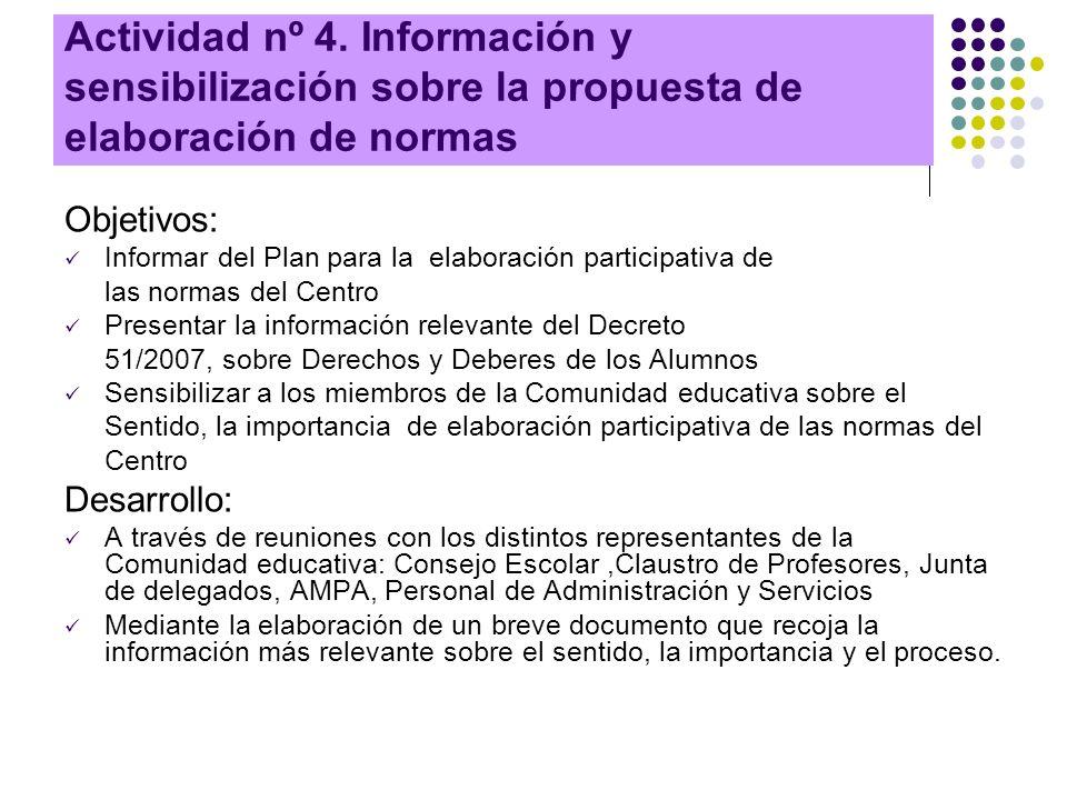 Actividad nº 4. Información y sensibilización sobre la propuesta de elaboración de normas