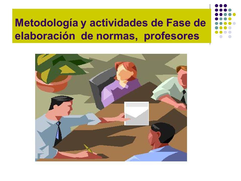 Metodología y actividades de Fase de elaboración de normas, profesores