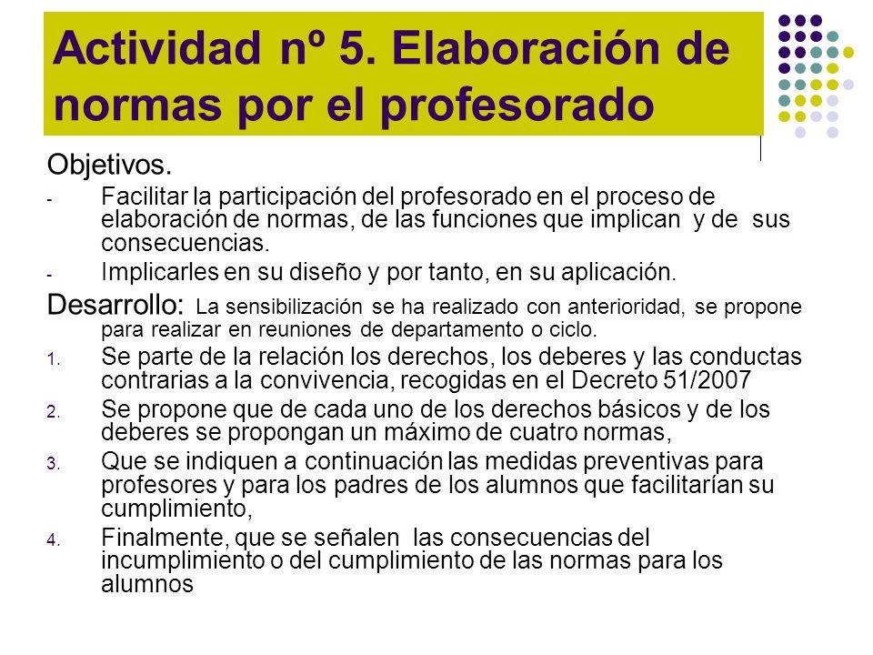 Actividad nº 5. Elaboración de normas por el profesorado