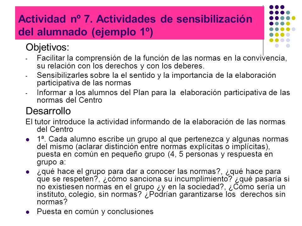 Actividad nº 7. Actividades de sensibilización del alumnado (ejemplo 1º)