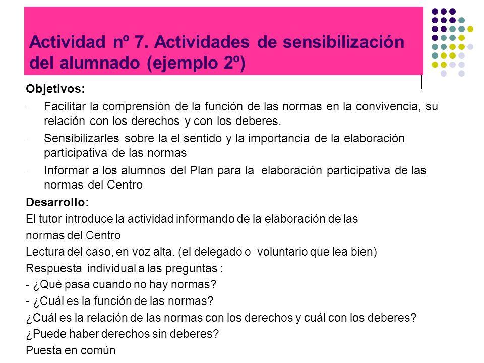 Actividad nº 7. Actividades de sensibilización del alumnado (ejemplo 2º)