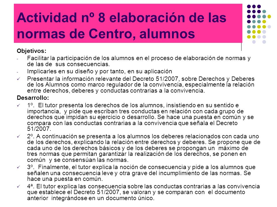 Actividad nº 8 elaboración de las normas de Centro, alumnos