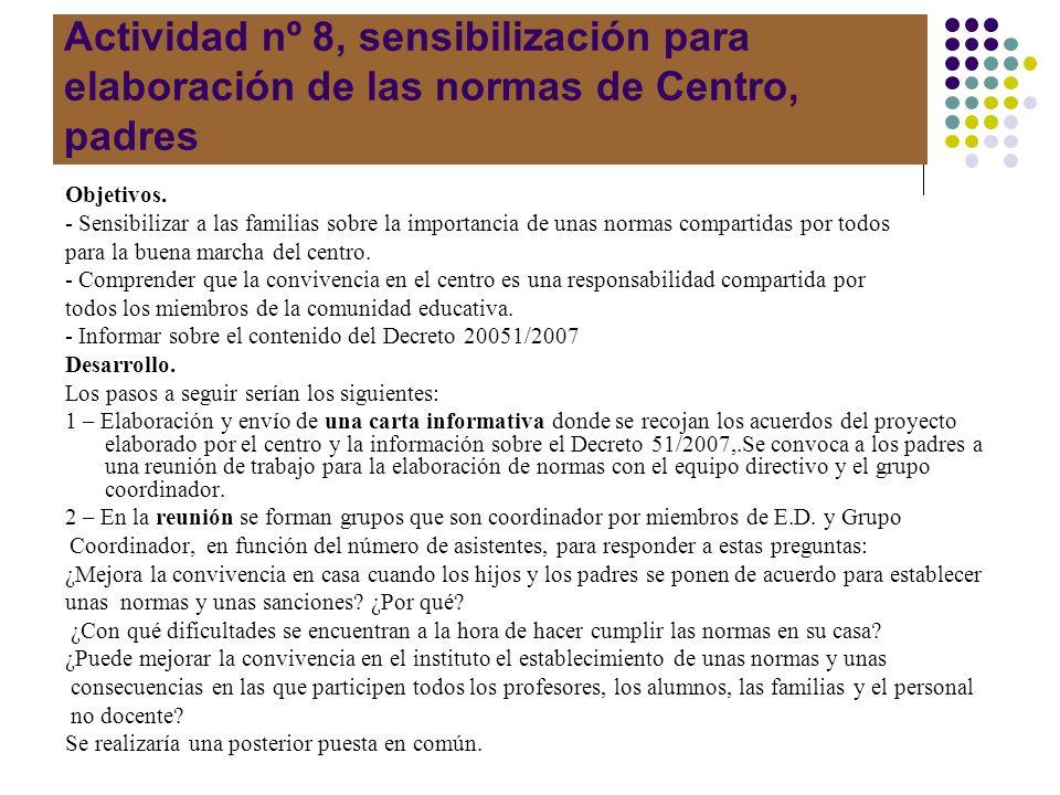 Actividad nº 8, sensibilización para elaboración de las normas de Centro, padres