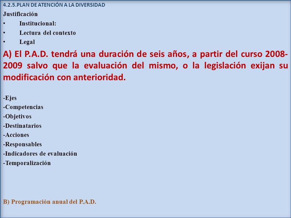 4.2.5.PLAN DE ATENCIÓN A LA DIVERSIDAD