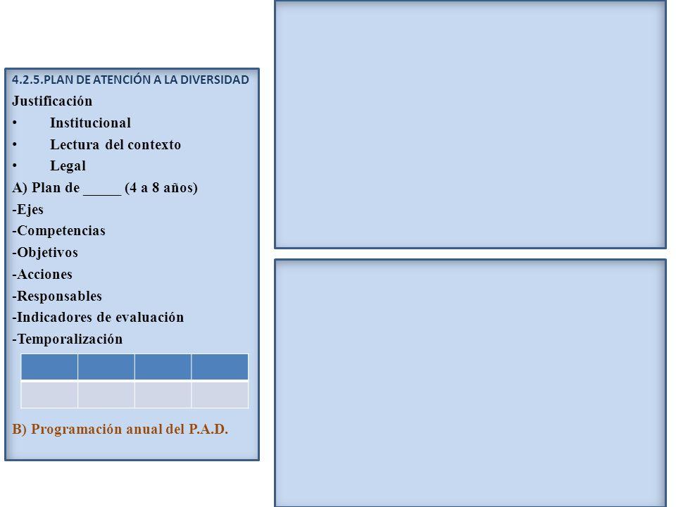 A) Plan de _____ (4 a 8 años) Ejes Competencias Objetivos Acciones