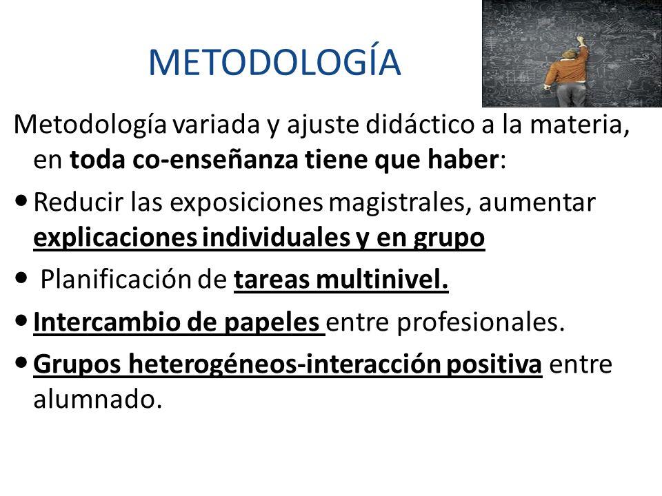 METODOLOGÍA Metodología variada y ajuste didáctico a la materia, en toda co-enseñanza tiene que haber: