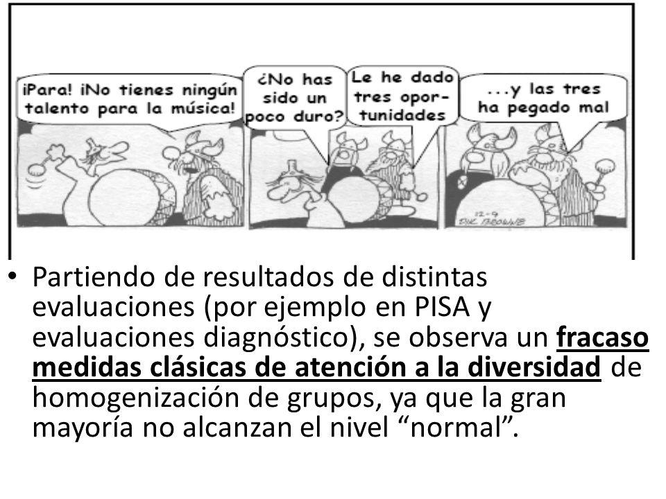Partiendo de resultados de distintas evaluaciones (por ejemplo en PISA y evaluaciones diagnóstico), se observa un fracaso medidas clásicas de atención a la diversidad de homogenización de grupos, ya que la gran mayoría no alcanzan el nivel normal .