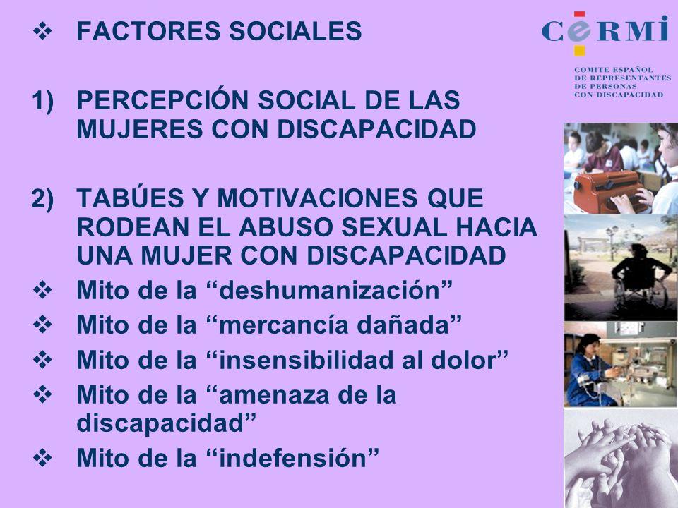 FACTORES SOCIALESPERCEPCIÓN SOCIAL DE LAS MUJERES CON DISCAPACIDAD.