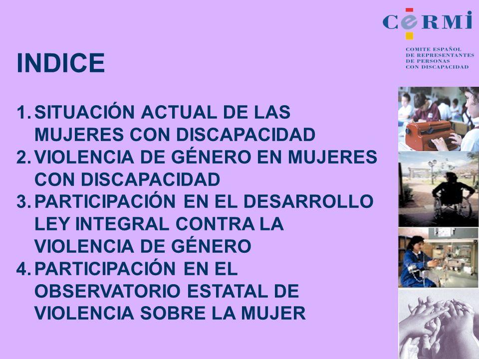INDICE SITUACIÓN ACTUAL DE LAS MUJERES CON DISCAPACIDAD