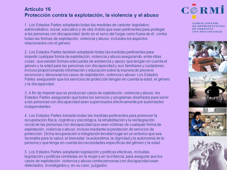 Protección contra la explotación, la violencia y el abuso