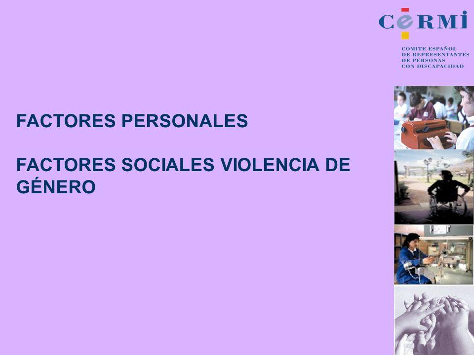 FACTORES PERSONALES FACTORES SOCIALES VIOLENCIA DE GÉNERO