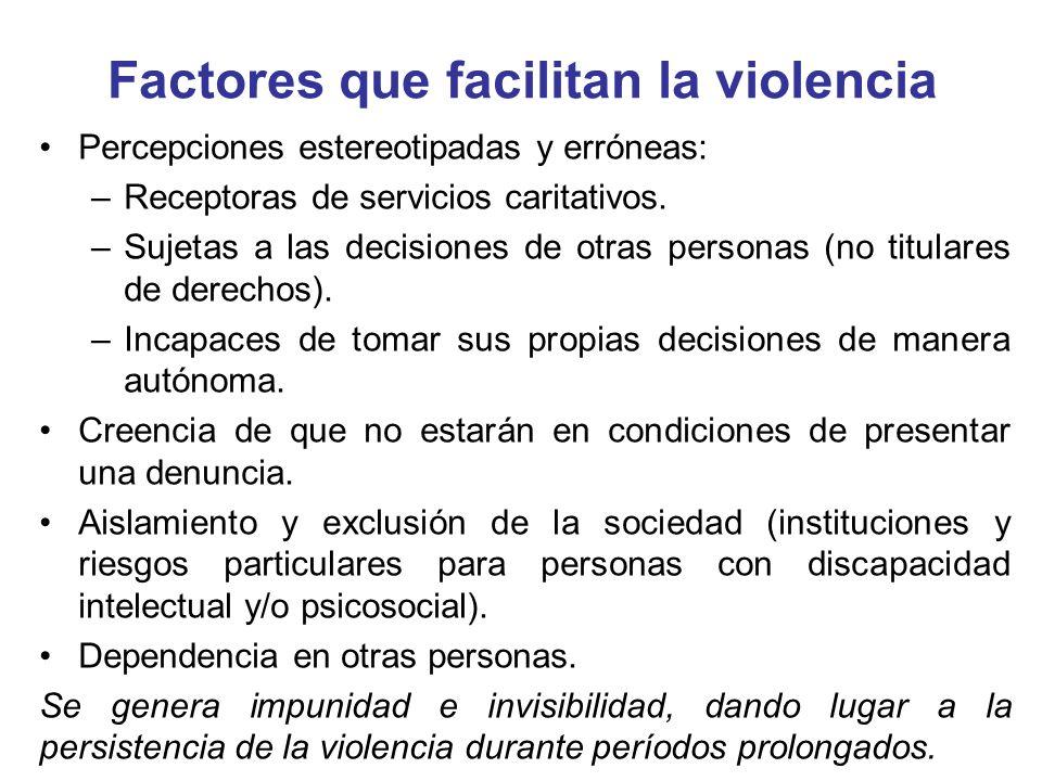 Factores que facilitan la violencia