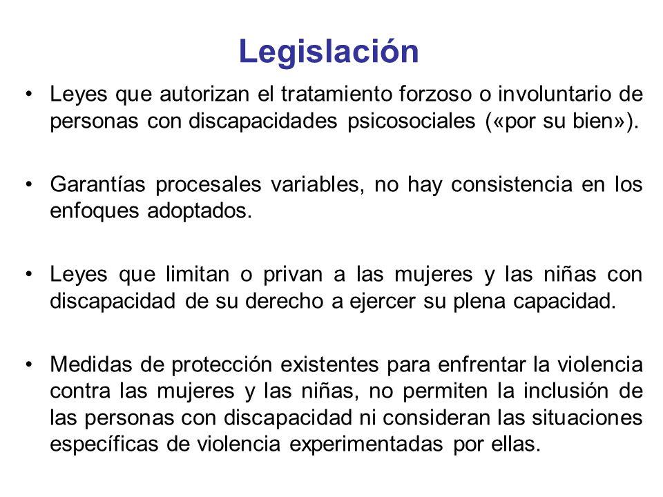 LegislaciónLeyes que autorizan el tratamiento forzoso o involuntario de personas con discapacidades psicosociales («por su bien»).
