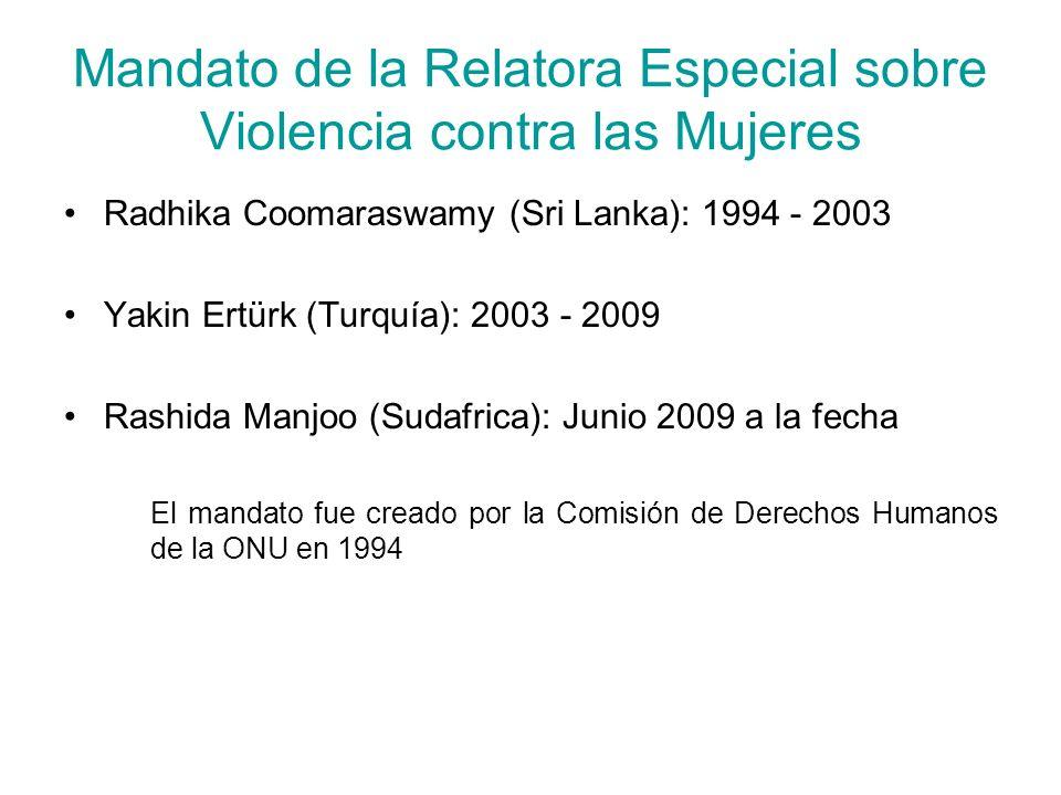 Mandato de la Relatora Especial sobre Violencia contra las Mujeres
